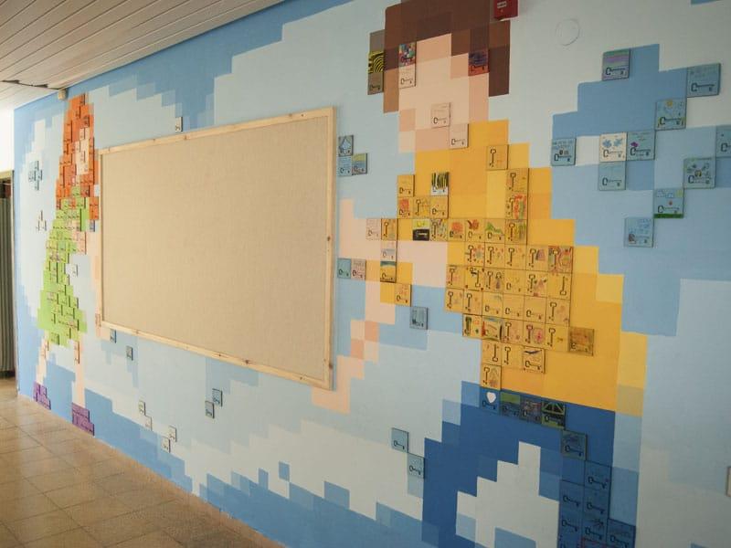 איור קיר מפתח הלב בבית ספר השלום