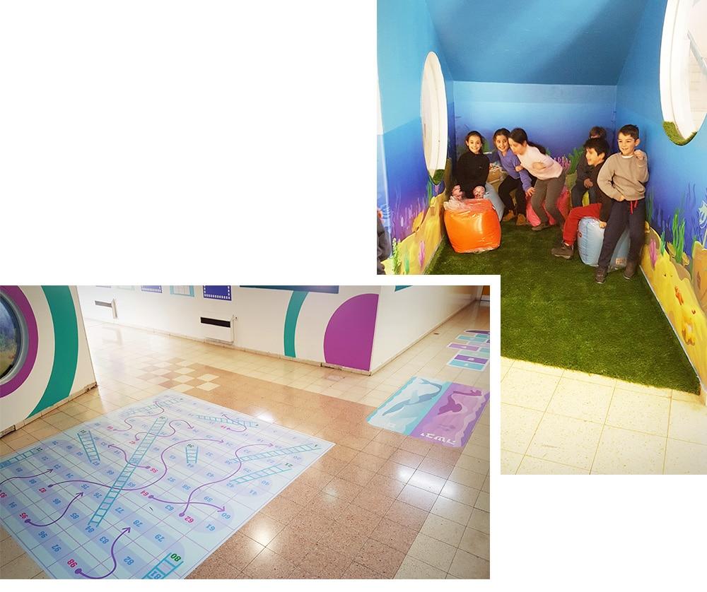עיצוב מרחבים נושקים - פינת אקווריום ואיזור משחקי רצפה