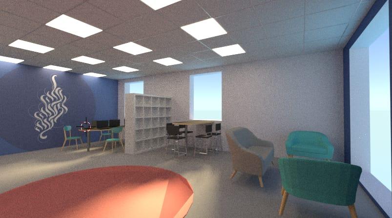 הדמייה - עיצוב חדר למידה לצוות מורים בישיבת שפע