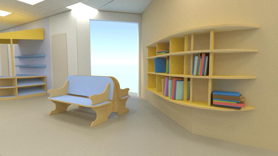 פינת ספריה בחלל מרכזי של בית הספר, עיצוב מקורי וביצוע מדהים על ידי קלמר