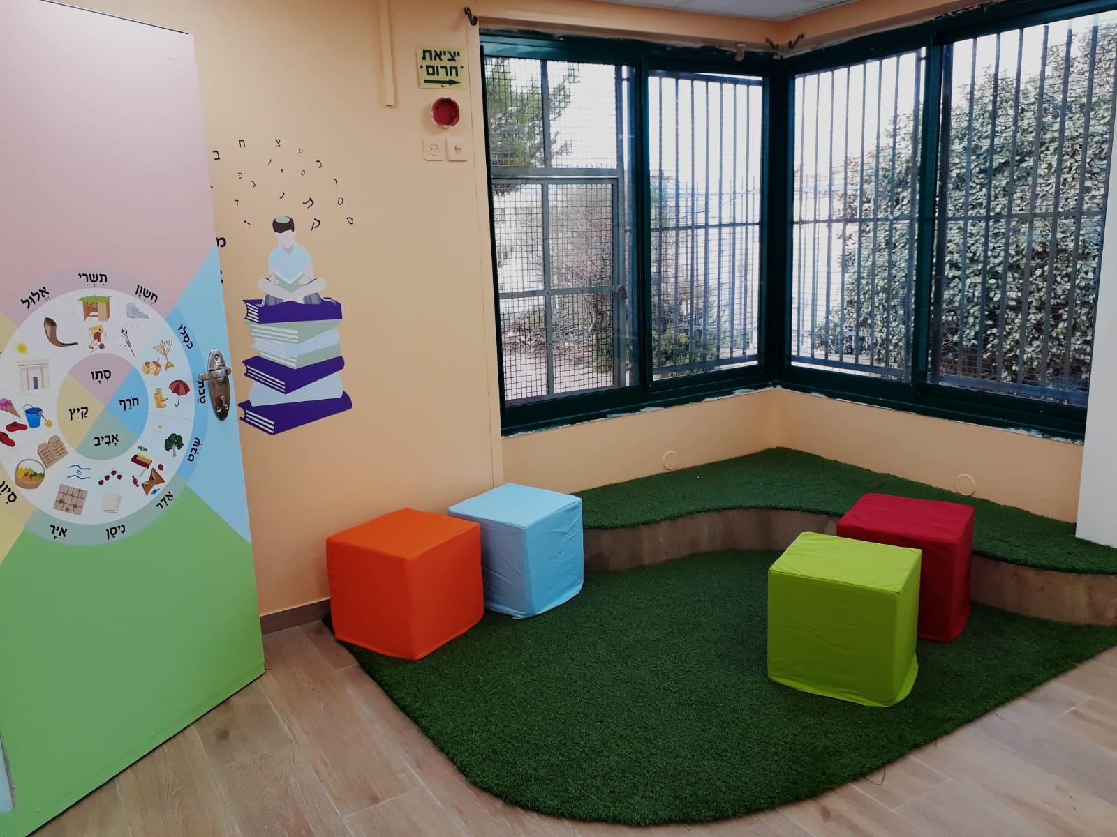 פינת קריאה בכיתה א'- מקומות ישיבה ופרינט של מעגל חודשי השנה על גבי הדלת