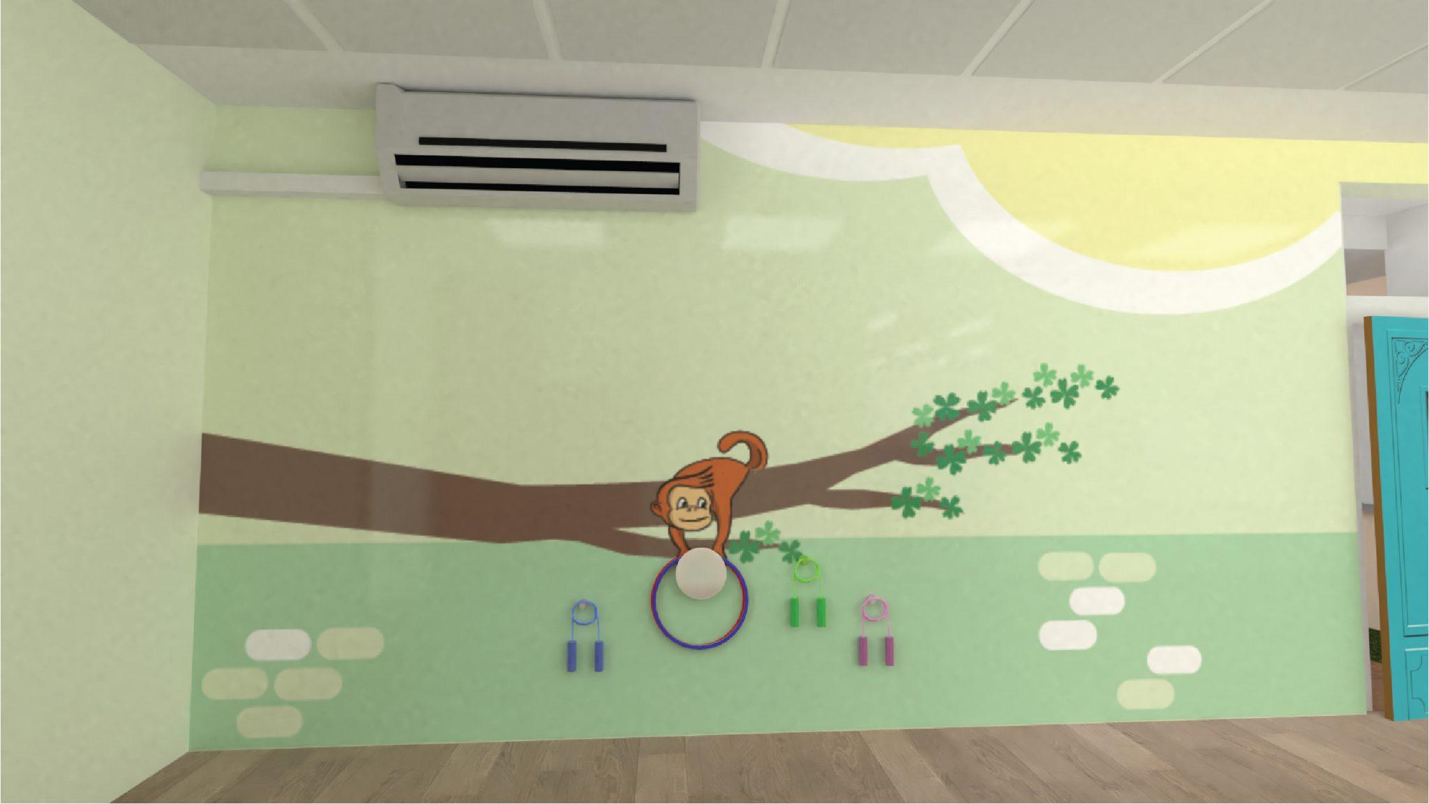 """הדמיה- דלגיות וחישוקים ב""""פינת התנועה"""" המויצגת על ידי קוף"""