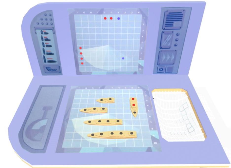 הדמיה- מבט פרונטלי על לוח המשחק- חלקי משחק וגרפיקה בעיצוב מקורי
