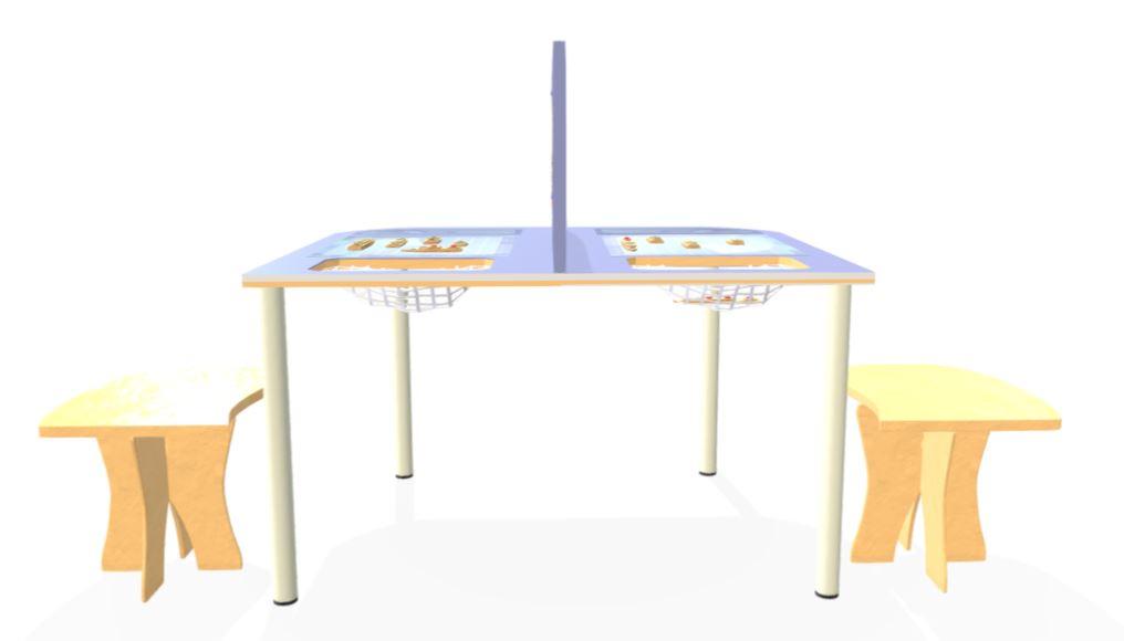 הדמיה- מבט מהצד על השולחן בתוספת כיסאות יעודיים
