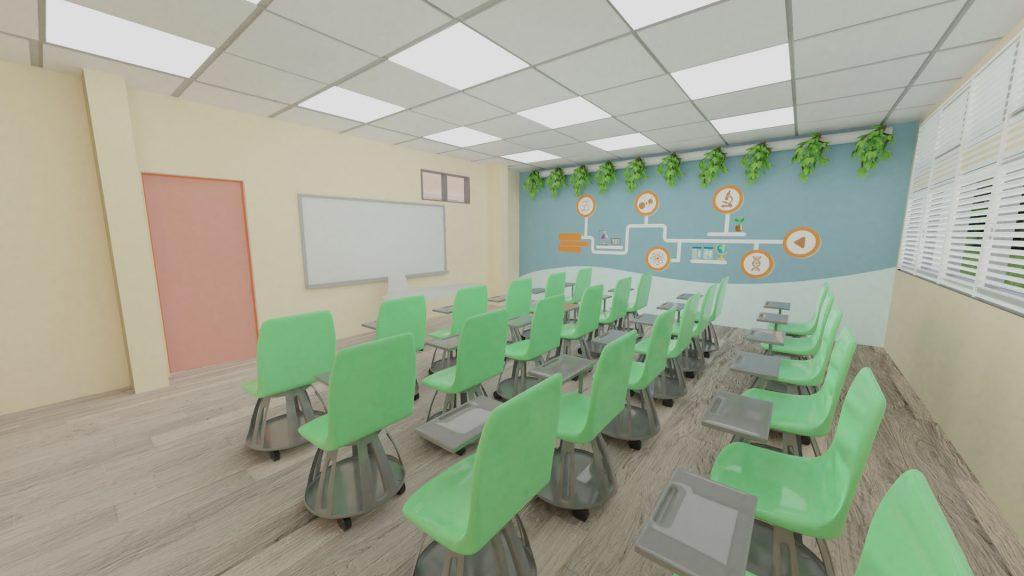 הדמיה של הכיתה- כיסאות על גלגלים, פרינט של תחומים מדעיים, צמחייה סינתטית על הקיר