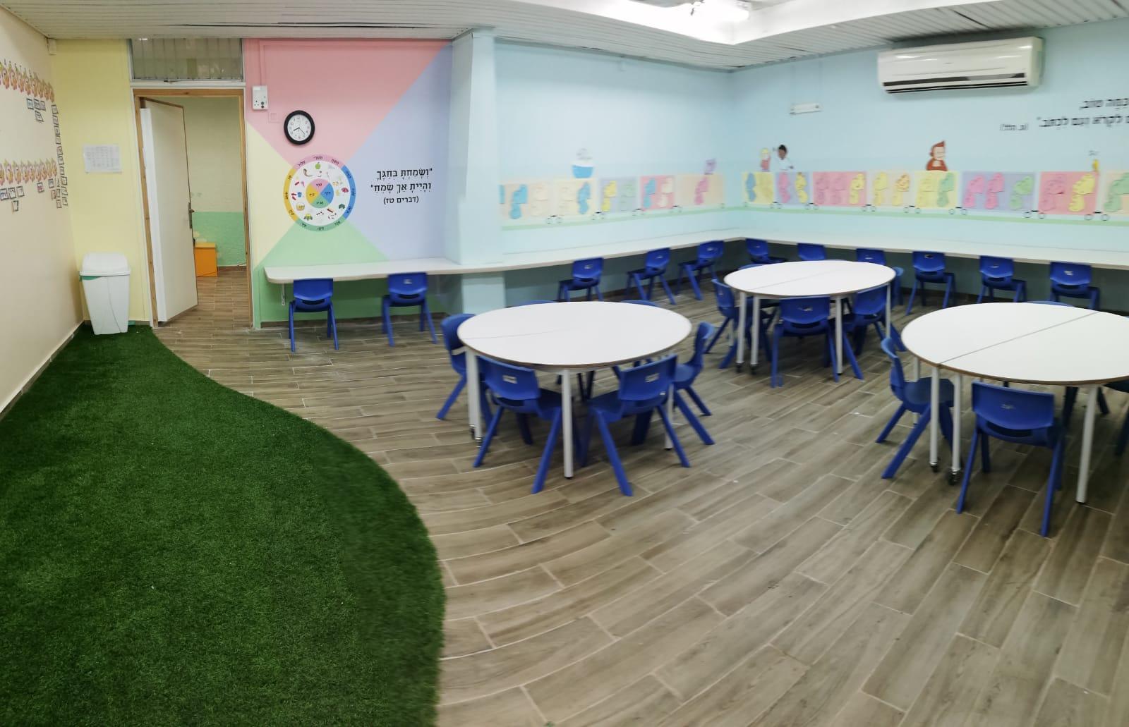 זווית נוספת של העיצוב בכיתות א'- בתוספת קיר עם מעגל חודשי השנה