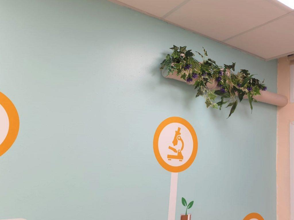 תקריב של הצמחייה על גבי הקיר