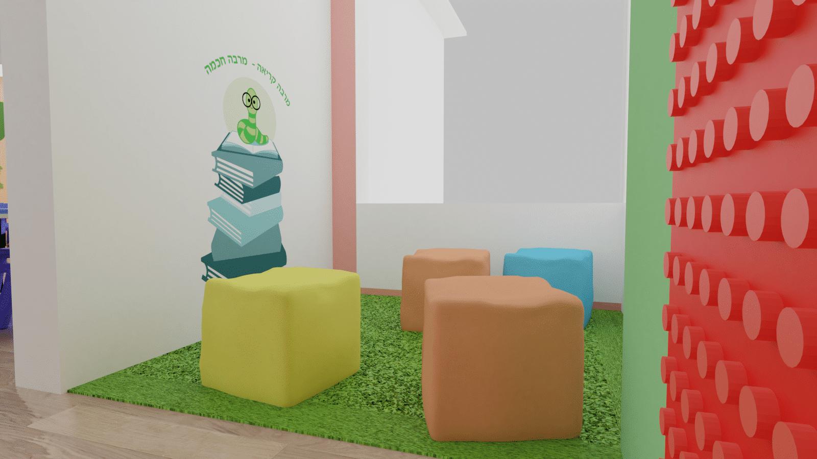 הדמיה של פינת קריאה בכיתה א'- קיר לגו, מקומות ישיבה ופרינט של תולעת ספרים