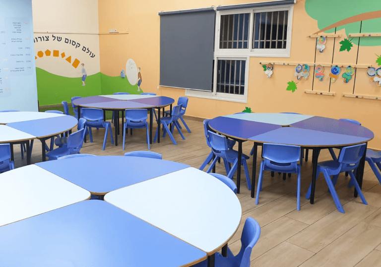 עיצוב סביבת למידה כיתות לימוד כיתה א שולחנות מתחברים