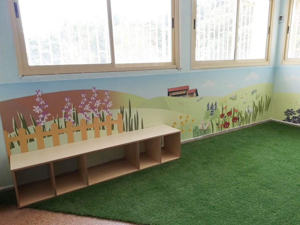 ניצנים עיצוב כיתות - איור קיר של קיבוץ