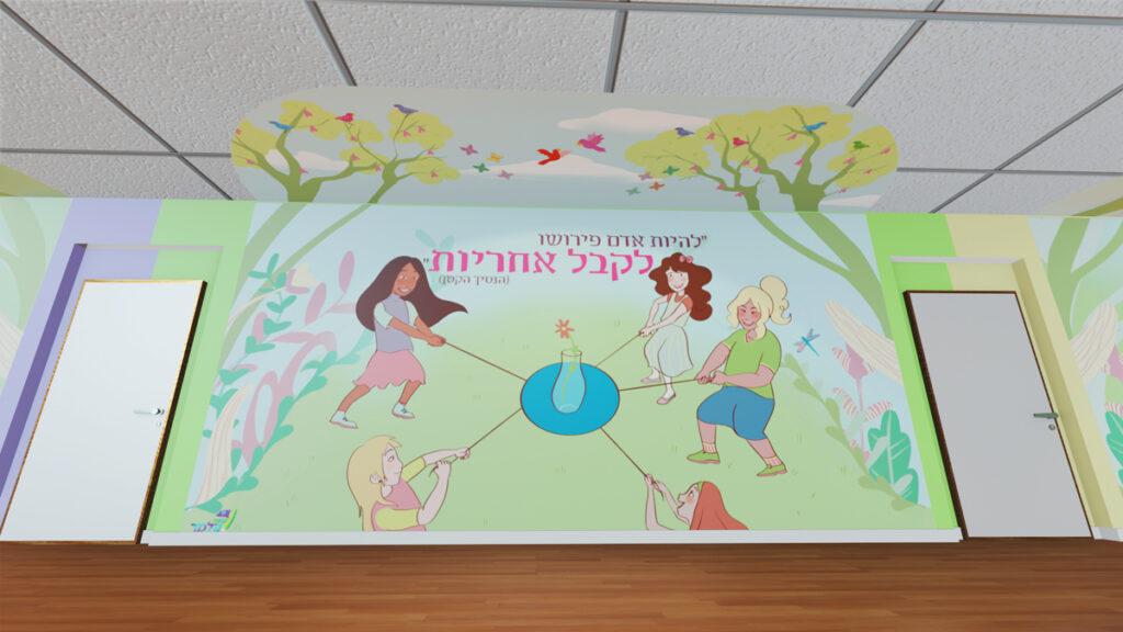 אוולינה דה רוטשילד עיצוב מתחם לימודי לבנות אמירות לימודיות ואיור