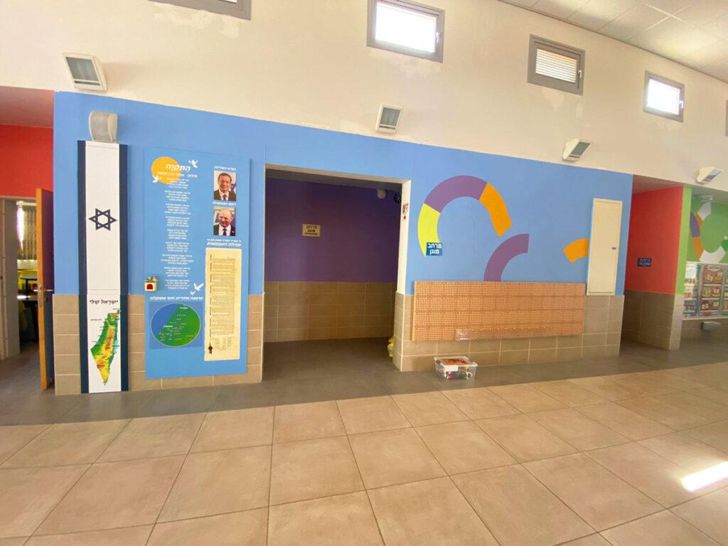 בית הספר ניצנים עיצוב מרחב קיר לאום וצבעי קיר